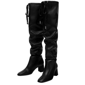 Zara Slouchy Leather Heeled Boots Size  40/10